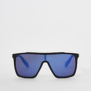 Schwarze, verspiegelte Visor-Sonnenbrille