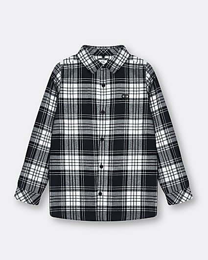Boys black mono check shirt