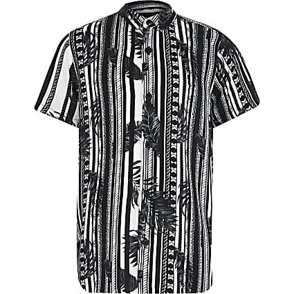 Boys black mono leaf stripe shirt