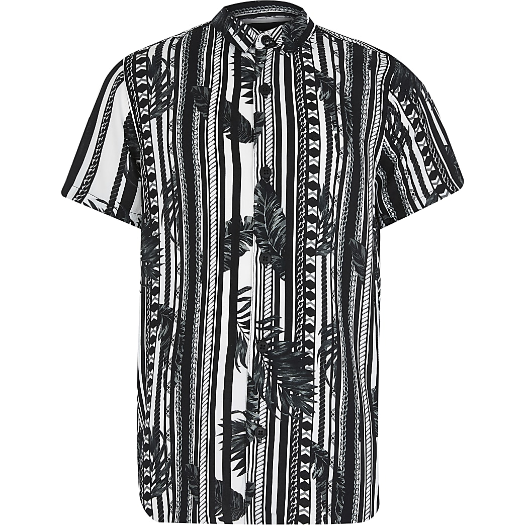 Boys black mono leaf stripe shirt