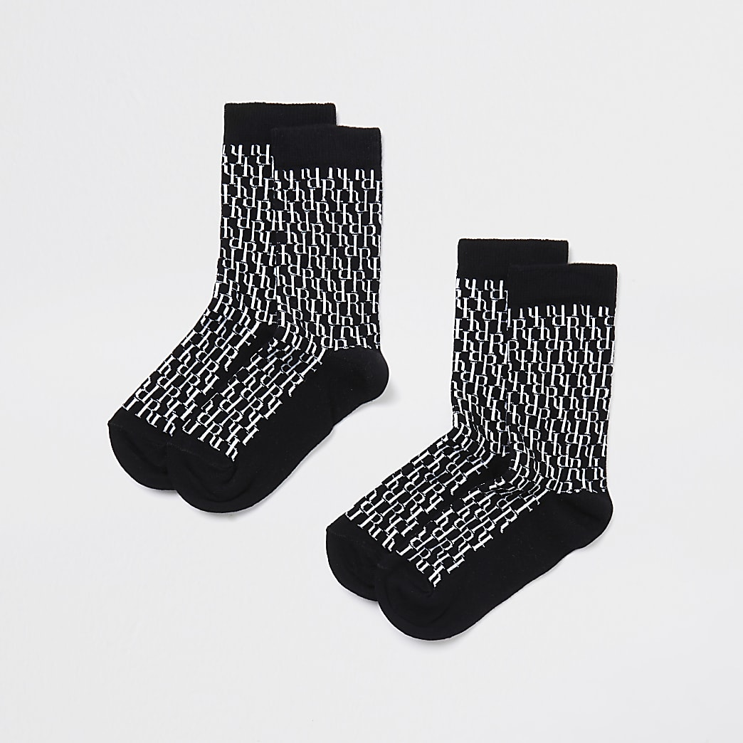 Boys black monogram 2 pack sock