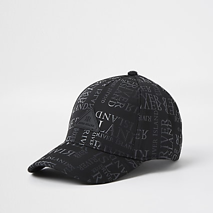 Boys black monogram cap