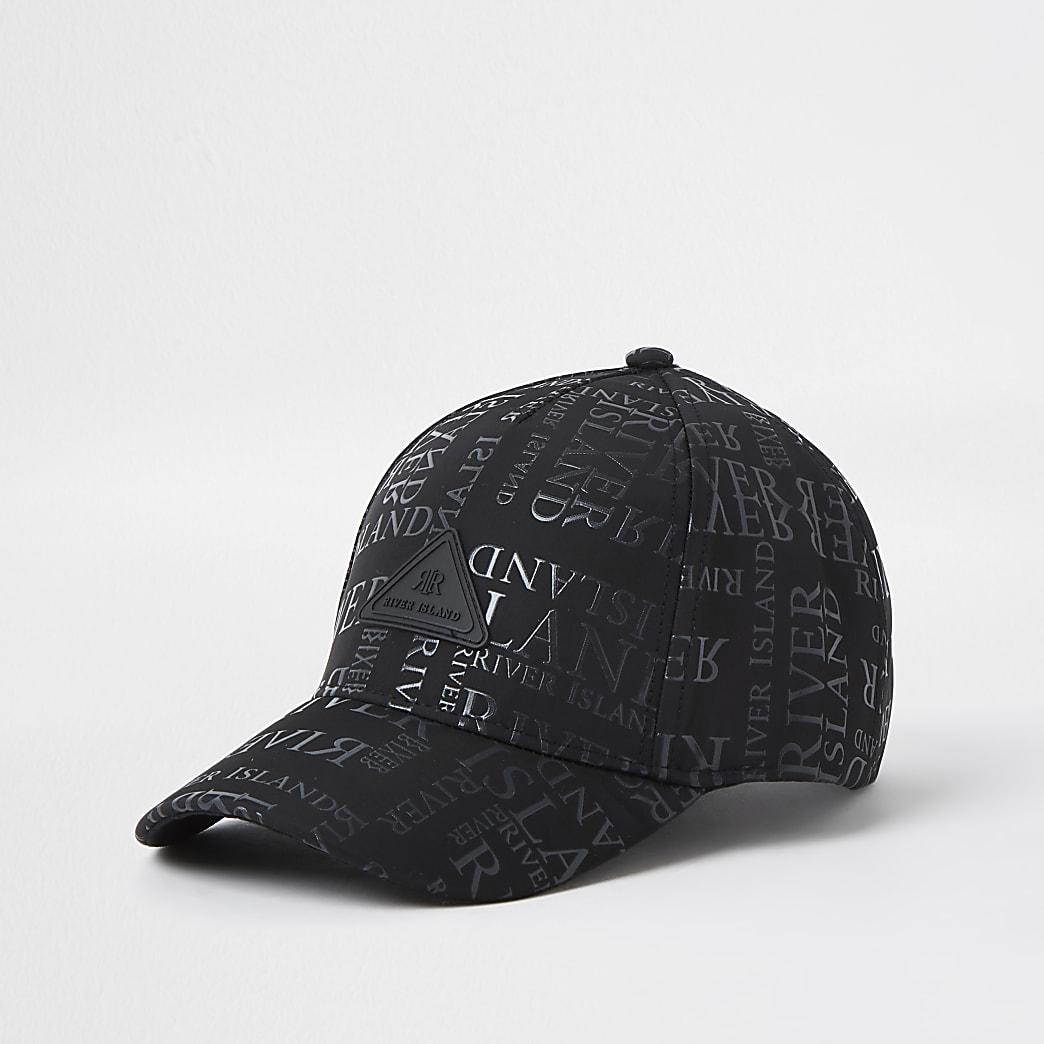 Boys black monogram cap