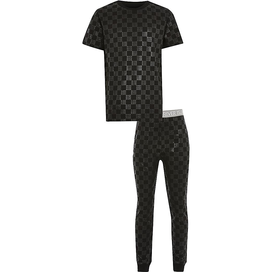 Boys black monogram pyjama set