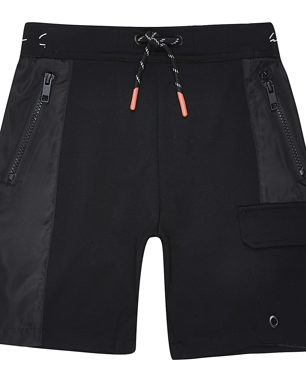 Boys black nylon jersey blocked short