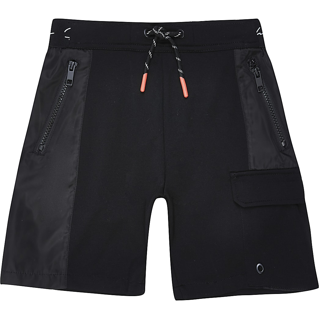 Boys black nylon jersey blocked short