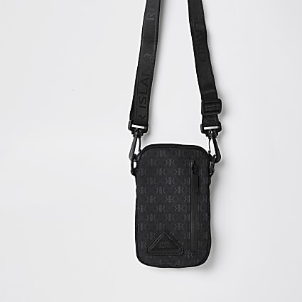 Boys black nylon monogram cross body bag