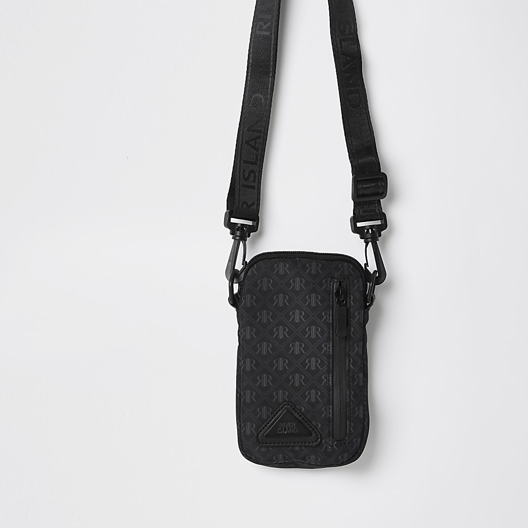 Boys black nylon monogram cross body bag