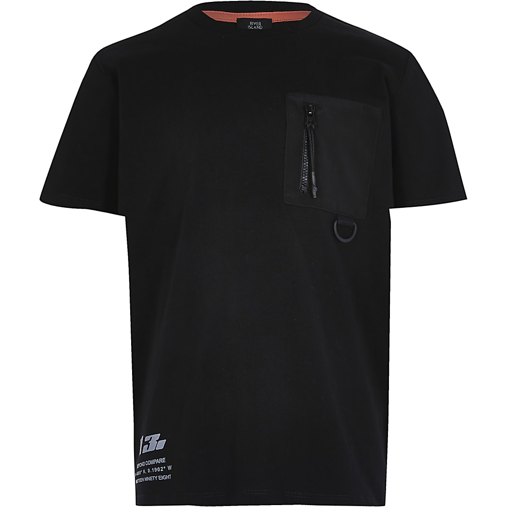Boys black nylon pocket t-shirt