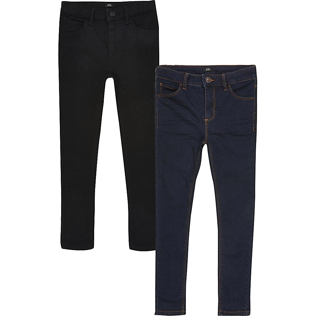 Boys black Ollie skinny jeans 2 pack
