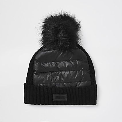 Boys black padded beanie hat