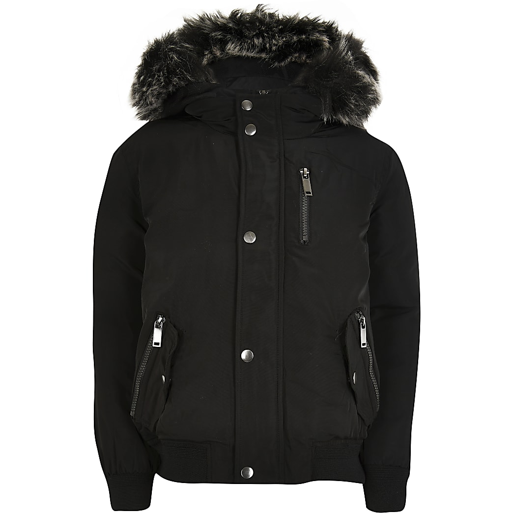 Boys black padded hooded bomber jacket