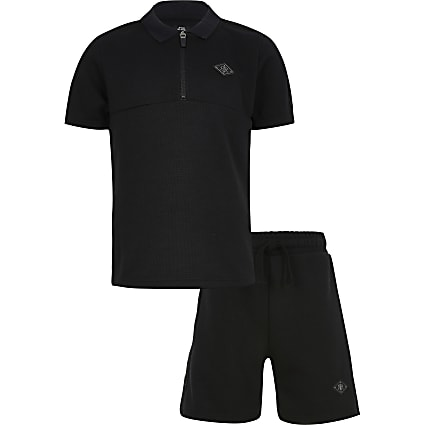 Boys black pique polo short set