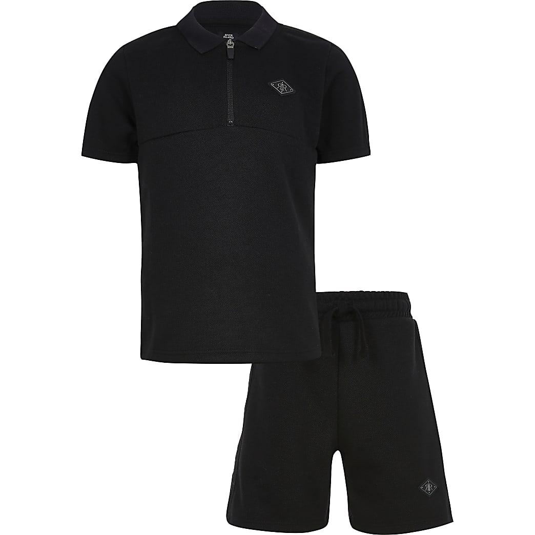 Boys black pique polo short set