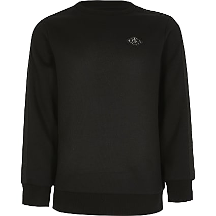 Boys black pique tape sweatshirt