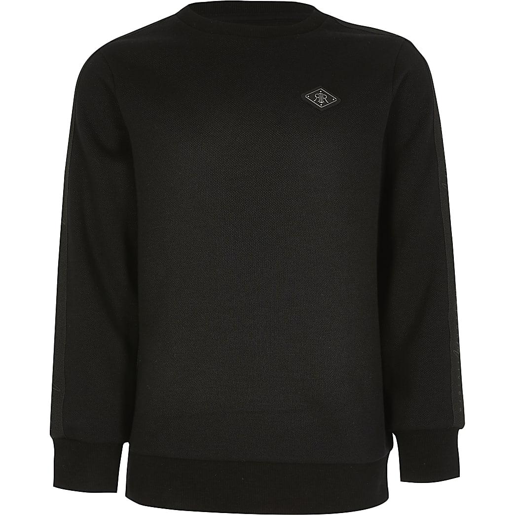 Boys black pique tape sweatshirt