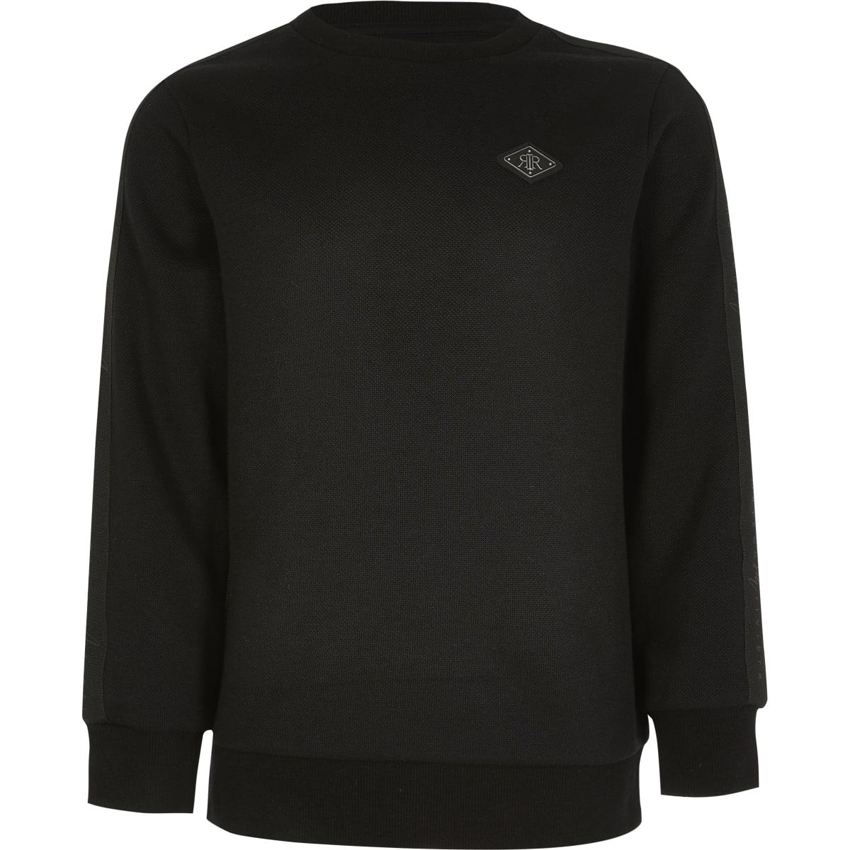 Zwarte sweater met piqué bies voor jongens