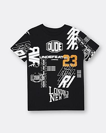 Boys black print t-shirt