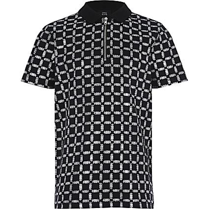 Boys black printed polo shirt