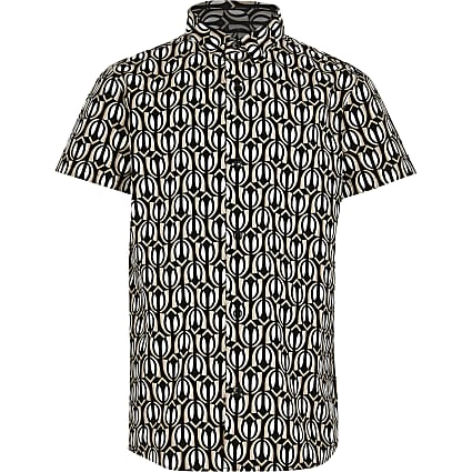 Boys black printed shirt