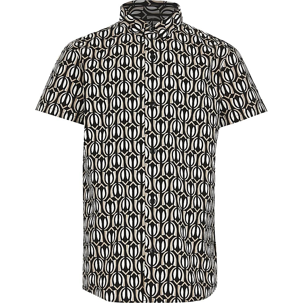 Boys black printed shirt