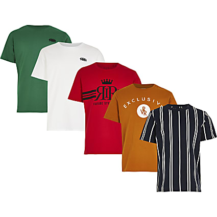 Boys black printed t-shirt 5 pack