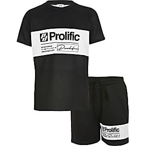 Prolific - Zwarte outfit met shorts met kleurvlakken voor jongens
