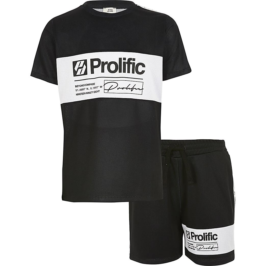 Prolific – Schwarzes Shorts-Outfit in Blockfarben für Jungen