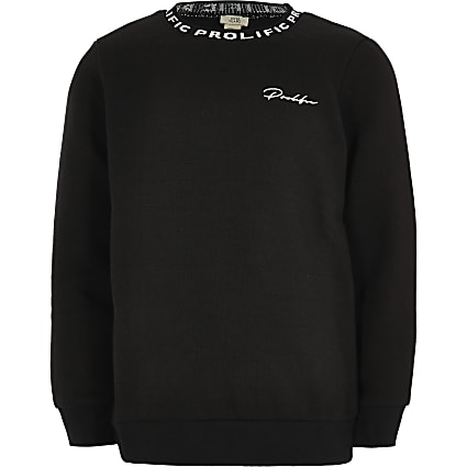 Boys black Prolific crew neck sweatshirt
