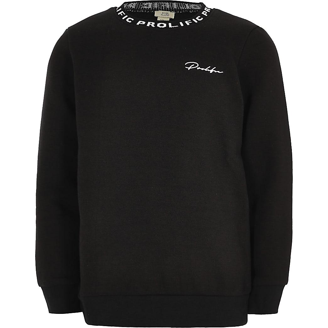 Boys black Prolific crew neck sweatshirt