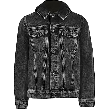 Boys black Prolific hooded denim jacket