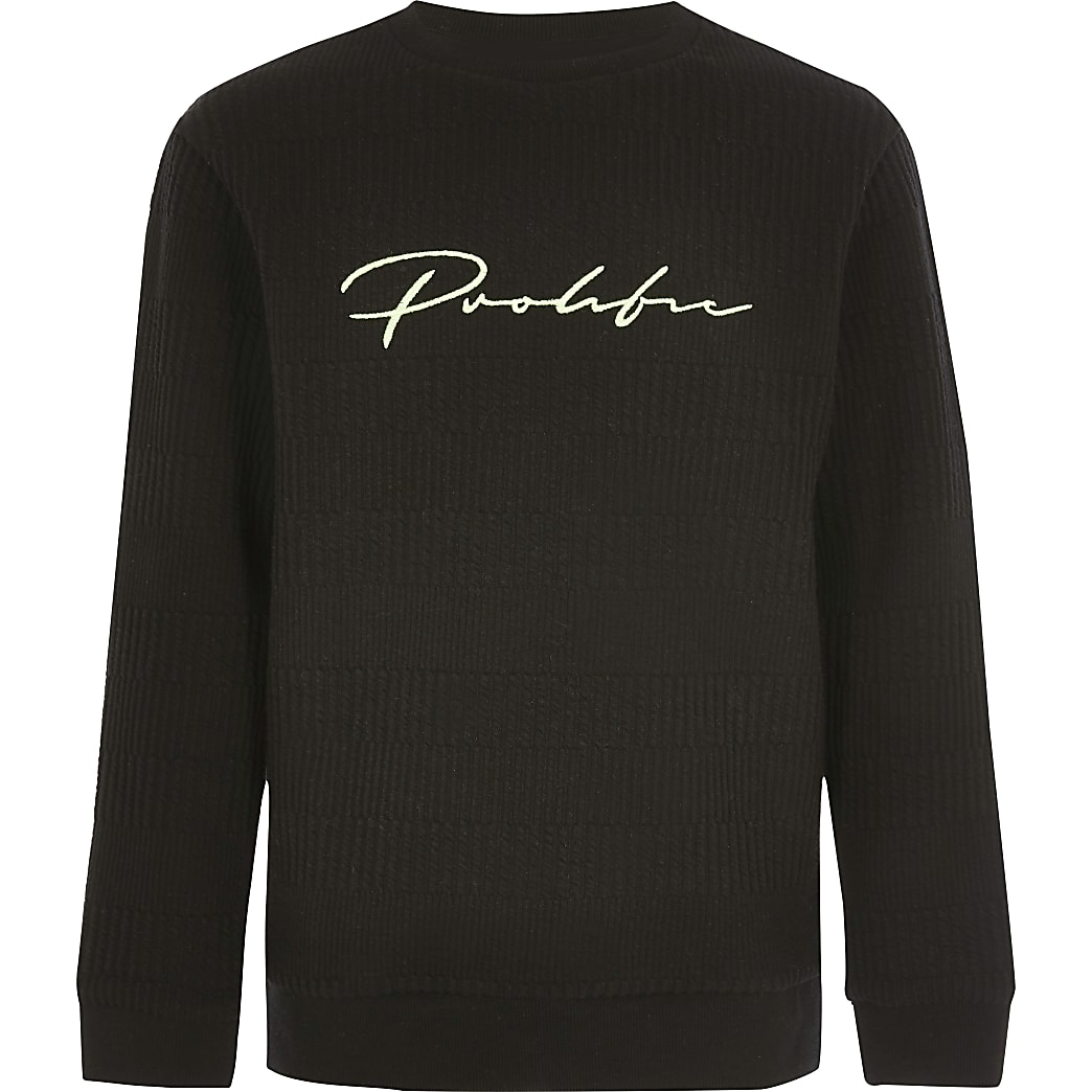 Boys black Prolific ribbed jumper