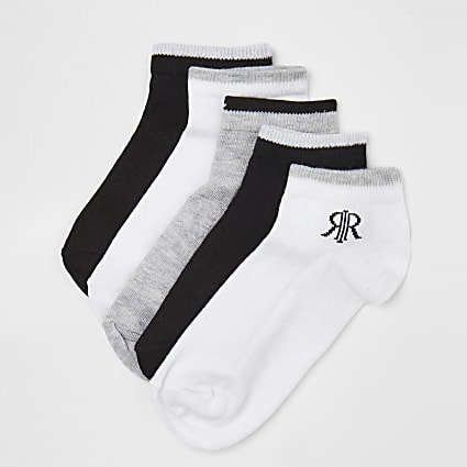 Boys black Prolific trainer socks 5 pack