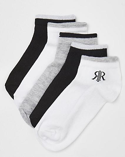 Boys black Prolific trainer socks 5 pack