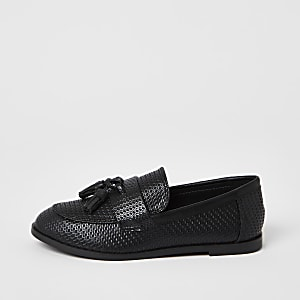 Boys black PU basketweave loafer