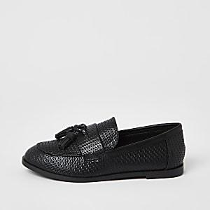 Boys black PU basketweave loafer