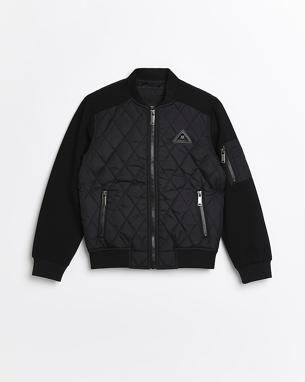 Boys black quilted bomber jacket