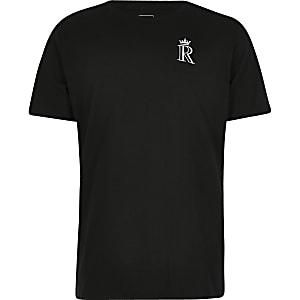 Schwarzes T-Shirt mit R-Kronen-Stickerei
