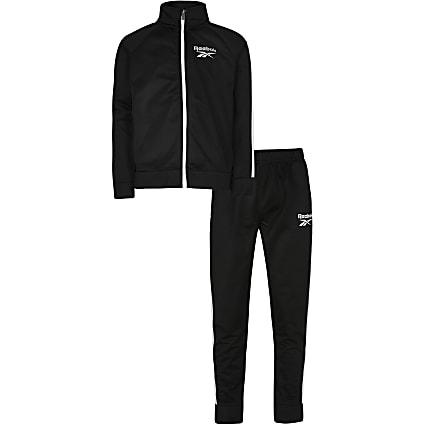 Boys black Reebok tracksuit outfit