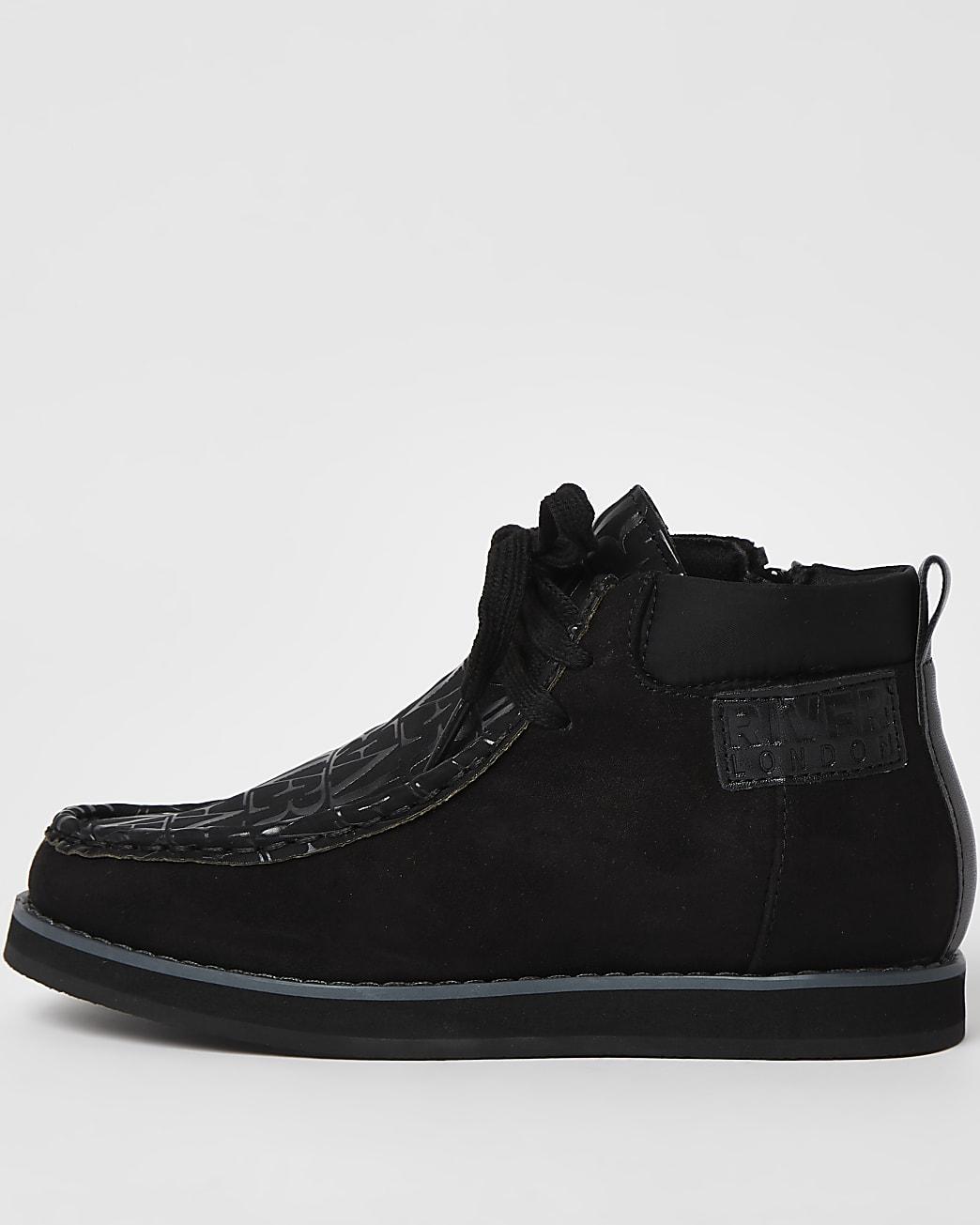 Boys black RI  lace up boots