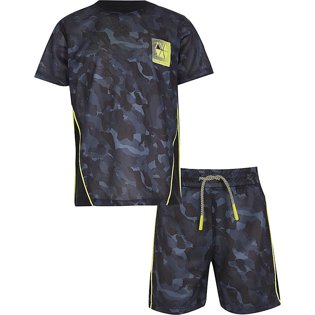 Boys black RI Active camo mesh outfit