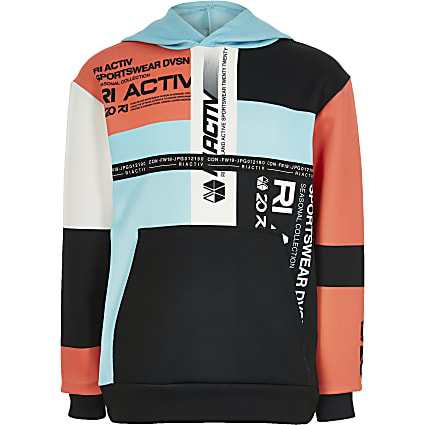 Boys black RI Active colour blocked hoodie