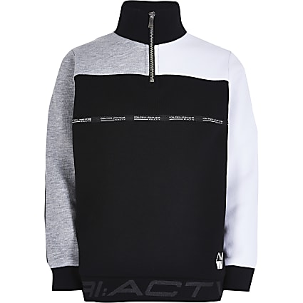 Boys black RI Active funnel neck sweatshirt