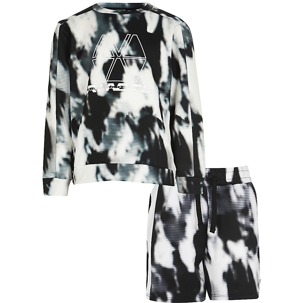 Boys black RI Active tie dye sweat outfit