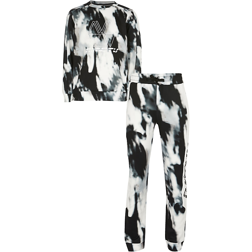 Boys black RI Active tie dye tracksuit