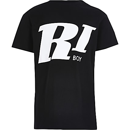 Boys black 'RI Boy' chest print