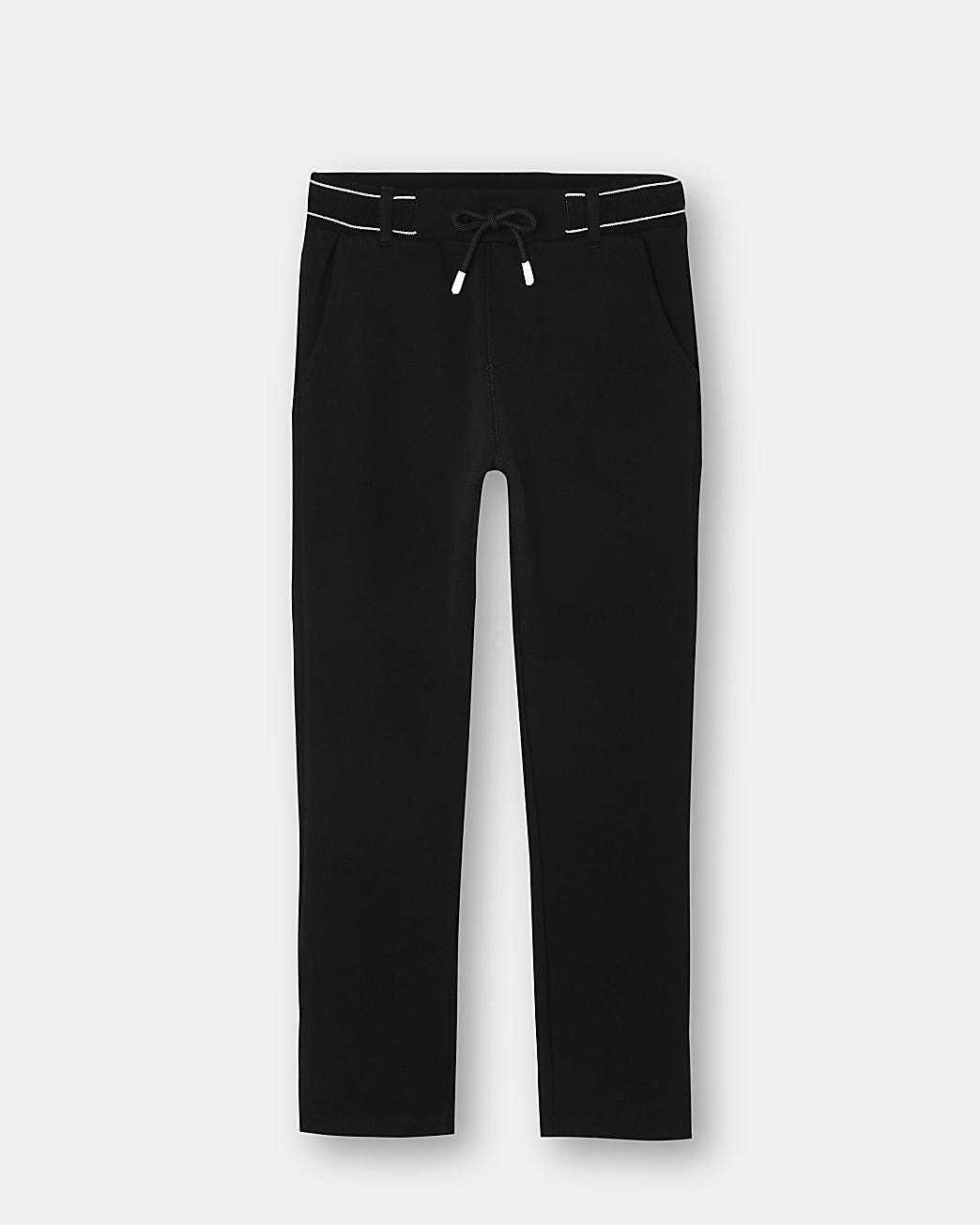 Boys black RI branded trousers