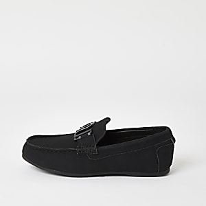 Boys black RI driver shoes