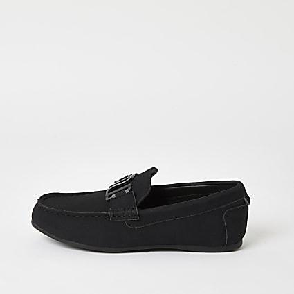 Boys black RI driver shoes