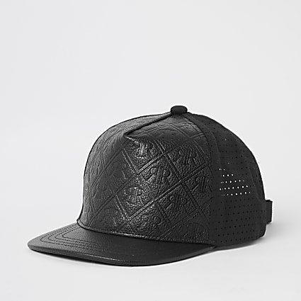 Boys black RI embossed perforated cap